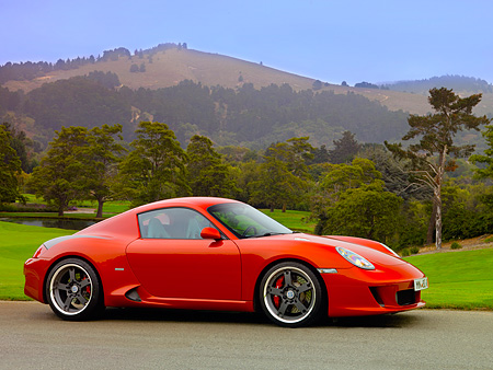 POR 04 RK0697 01 © Kimball Stock 2007 Porsche RUF RK Coupe Red 3/4 Front View On Pavement By Hills