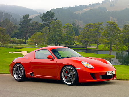 POR 04 RK0700 01 © Kimball Stock 2007 Porsche RUF RK Coupe Red 3/4 Side View On Pavement By Grass And Trees