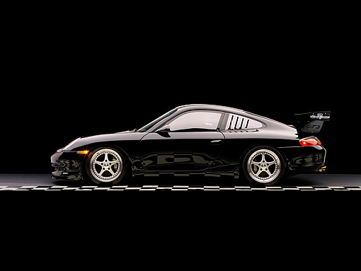 POR 04 RK0711 01 © Kimball Stock 2005 Porsche GT3 Coupe Black Profile View On Checkerboard Studio