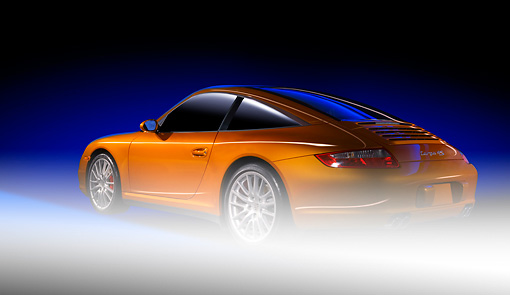 POR 04 RK0722 01 © Kimball Stock 2007 Porsche 911 Targa 4S Speed Yellow 3/4 Rear View Studio
