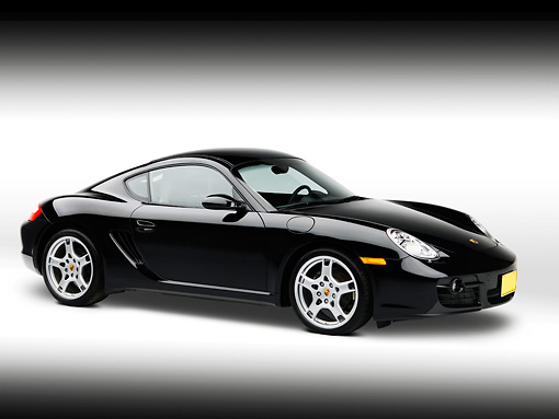 POR 04 RK0735 01 © Kimball Stock 2007 Porsche Cayman Black 3/4 Side View On White Seamless Studio