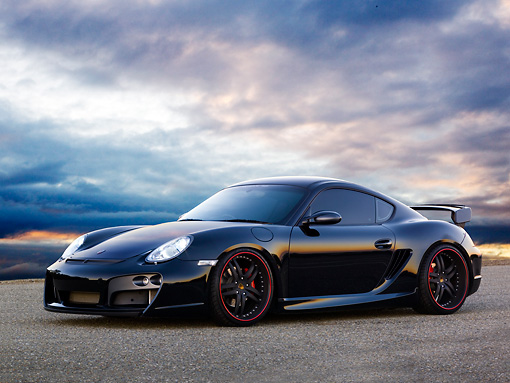POR 04 RK0785 01 © Kimball Stock 2008 Porsche Cayman S TechArt Black 3/4 Front View On Pavement Sky