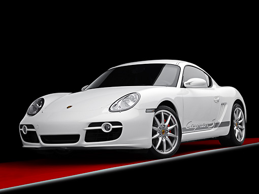 POR 04 RK0812 01 © Kimball Stock 2008 Porsche Cayman S Coupe White 3/4 Front View Studio