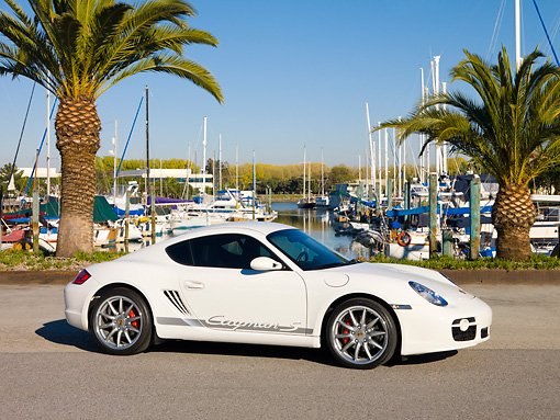 POR 04 RK0813 01 © Kimball Stock 2008 Porsche Cayman S Coupe White 3/4 Front View On Pavement By Marina