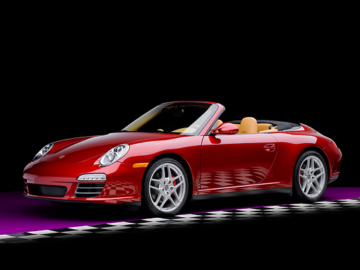 POR 04 RK0828 01 © Kimball Stock 2009 Porsche 911 Carrera 4S Convertible Red 3/4 Front View Studio Checkered Floor