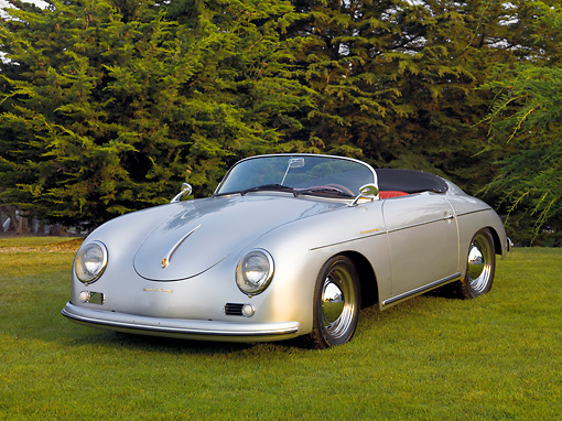 POR 06 BK0001 01 © Kimball Stock 1957 Porsche 356 Speedster Convertible Silver 3/4 Front View On Grass By Trees