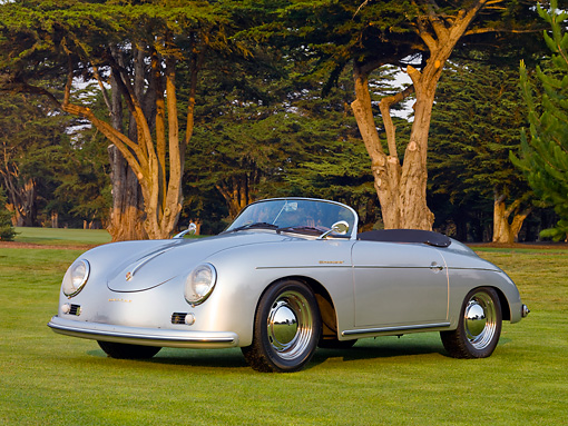 POR 06 BK0002 01 © Kimball Stock 1957 Porsche 356 Speedster Convertible Silver 3/4 Front View On Grass By Trees