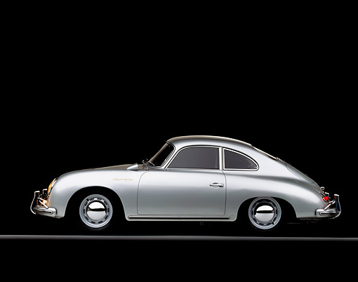 POR 06 RK0012 06 © Kimball Stock 1957 Porsche Carrera Coupe Silver Profile On Gray Line Studio