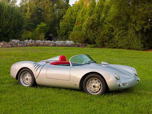 POR 06 RK0026 01 © Kimball Stock 1955 Porsche 550 Spyder Silver 3/4 Front View On Grass By Trees