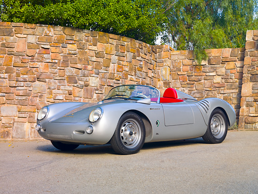 POR 06 RK0027 01 © Kimball Stock 1955 Porsche 550 Spyder Silver 3/4 Front View On Pavement By Stone Wall