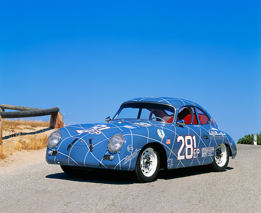 POR 06 RK0006 07 © Kimball Stock 1956 Porsche Racing Car Blue 3/4 Front View On Pavement