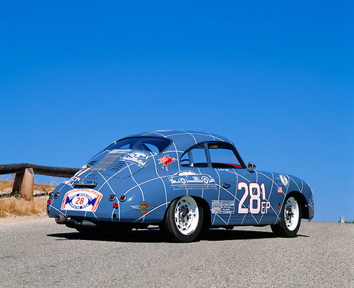 POR 06 RK0007 08 © Kimball Stock 1956 Porsche Racing Car Blue 3/4 Rear View On Pavement