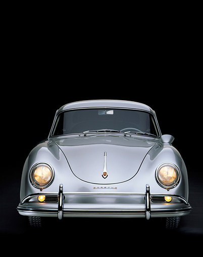 POR 06 RK0010 01 © Kimball Stock 1957 Porsche Carrera Coupe Silver Head On Shot Studio