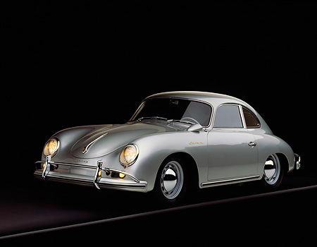 POR 06 RK0017 01 © Kimball Stock 1957 Porsche Carrera Coupe Silver 3/4 Front View On Gray Line Studio