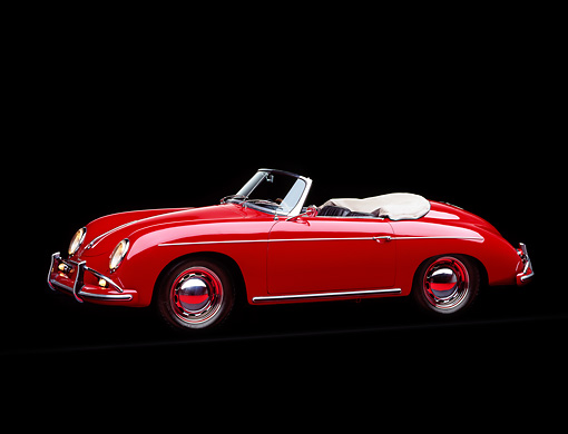 POR 07 RK0067 05 © Kimball Stock 1959 Porsche Speedster Red Side 3/4 View Studio