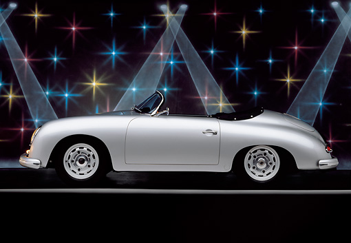 POR 07 RK0111 02 © Kimball Stock 1957 Porsche GS/GT Carrera Speedster Convertible Silver Profile View In Studio With Lights