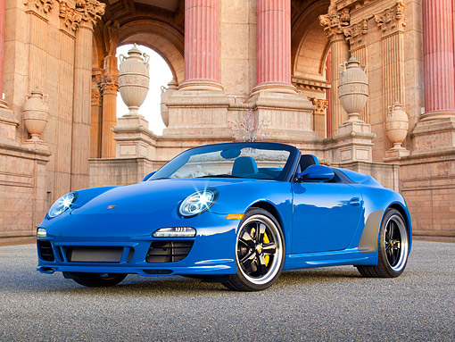 POR 07 RK0129 01 © Kimball Stock 2011 Porsche 911 Speedster Convertible Blue 3/4 Front View On Pavement By Palace Of Fine Arts San Francisco