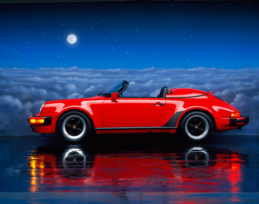 POR 07 RK0056 03 © Kimball Stock 1989 Porsche 911 Speedster Convertible Red Profile Studio
