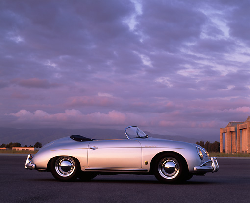 POR 07 RK0084 01 © Kimball Stock 1958 Porsche Speedster Silver 3/4 Front View On Pavement