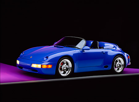 POR 07 RK0092 01 © Kimball Stock 1994 Porsche 911 Strosek Speedster Convertible Blue Side 3/4 View On Purple Floor Gray Line Studio