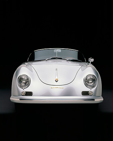 POR 07 RK0115 03 © Kimball Stock 1957 Porsche GS/GT Carrera Speedster Convertible Silver Head On Studio