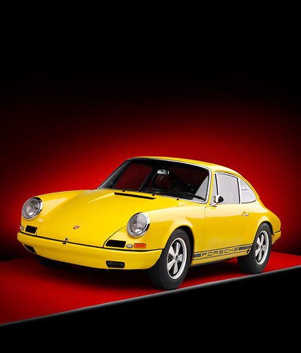 POR 27 RK0037 01 © Kimball Stock 1968 Porsche 911R Race Car Yellow 3/4 Front View Studio