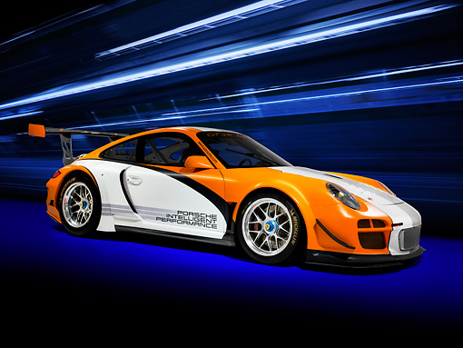 POR 27 RK0038 01 © Kimball Stock Porsche 911 GT3 R Hybrid Race Car Orange And White 3/4 Front View Studio