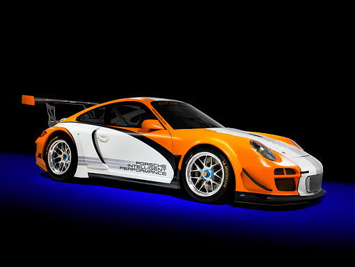 POR 27 RK0039 01 © Kimball Stock Porsche 911 GT3 R Hybrid Race Car Orange And White 3/4 Front View Studio