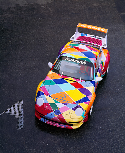 POR 27 RK0011 02 © Kimball Stock 1997 Porsche GT2 Multicolored Race car Overhead 3/4 Front View On Pavement