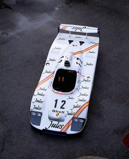 POR 27 RK0022 02 © Kimball Stock 1976 Jules Porsche Race Car 1977 Le Mans Winner Overhead Front 3/4 View On Pavement