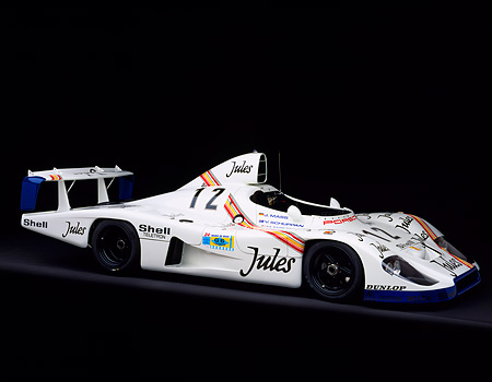 POR 27 RK0024 06 © Kimball Stock 1976 Jules Porsche Race Car 1977 Le Mans Winner 3/4 Front View On Gray Line Studio