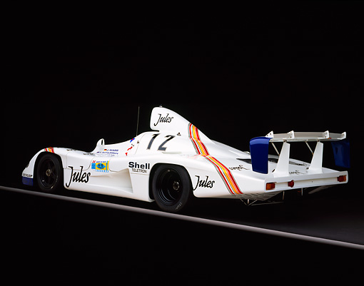 POR 27 RK0026 01 © Kimball Stock 1976 Jules Porsche Race Car 3/4 Rear View On Gray Line Studio