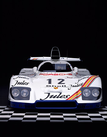 POR 27 RK0029 07 © Kimball Stock 1976 Jules Porsche Race Car 1977 Le Mans Winner Head On Shot On Checkerboard Studio