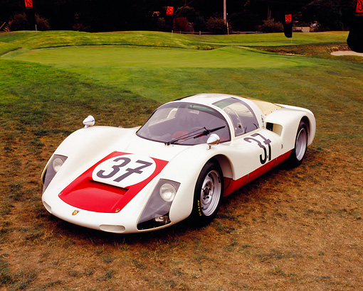 POR 27 RK0030 05 © Kimball Stock 1966 Porsche Carrera 906 Race Car White And Red 3/4 Front View On Grass