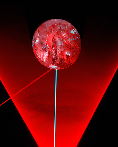 PUZ 02 RK0002 01 © Kimball Stock Red Crystal Sphere And Lasers