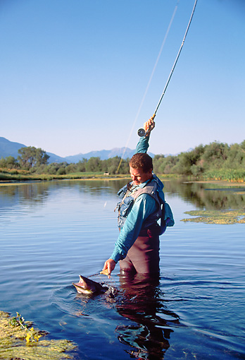 REC 04 DS0012 01 © Kimball Stock Man Standing In Lake Catching Fish