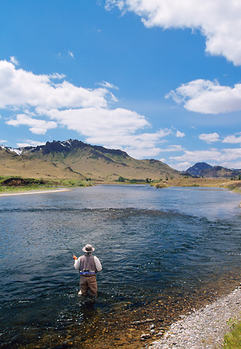 REC 04 DS0001 01 © Kimball Stock Man Standing In River Fly Fishing