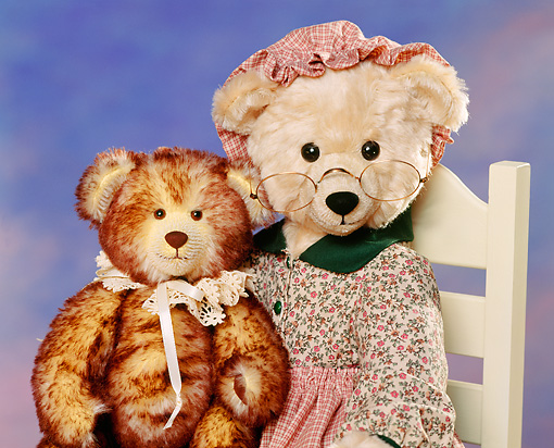 TED 01 RK0137 07 © Kimball Stock Grandma And Kid Teddy Bear Tabby's Bears