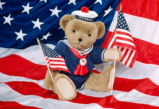 TED 01 RK0889 04 © Kimball Stock All-American Bear Holding Flags BM Wright Bears