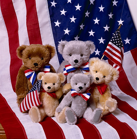 TED 01 RK0898 05 © Kimball Stock Five Teddy Bears With American Flags BM Wright Bears