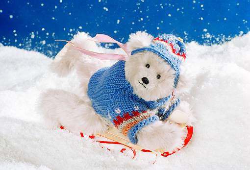 TED 01 RK1004 21 © Kimball Stock Teddy Bear Sledding Starry Night Ted E Tail Bears