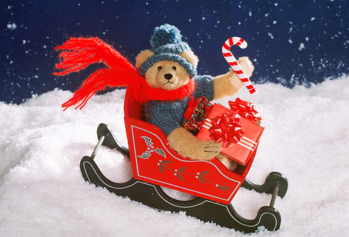 TED 01 RK1014 08 © Kimball Stock Teddy Bear On Sled With Presents On Snow Starry Night Roley Bears