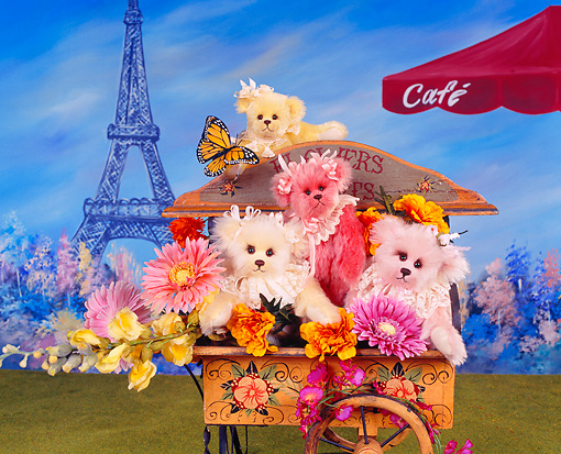 TED 01 RK1040 03 © Kimball Stock Flower Teddy Bears In Paris   Joan Woessner Bears
