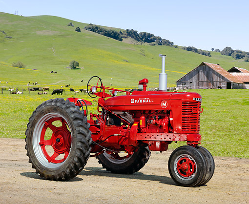 TRA 01 RK0206 01 © Kimball Stock 1950 Farmall M Tractor Red 3/4 Side View On Dirt By Grassy Hills And Cows
