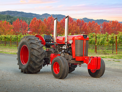TRA 01 RK0247 01 © Kimball Stock 1958 Massey Ferguson 85 Tractor Red 3/4 Front View On Pavement Vineyard And Autumn Trees