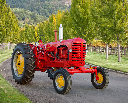 TRA 01 RK0258 01 © Kimball Stock 1953 Massey-Harris 44 Special Tractor Red And Yellow 3/4 Front View On Pavement By Rows Of Trees