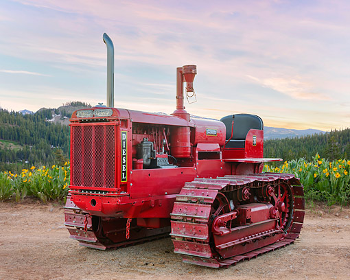 TRA 01 RK0369 01 © Kimball Stock 1938 International Harvester T35 Red 3/4 Front View By Flowers And Mountains