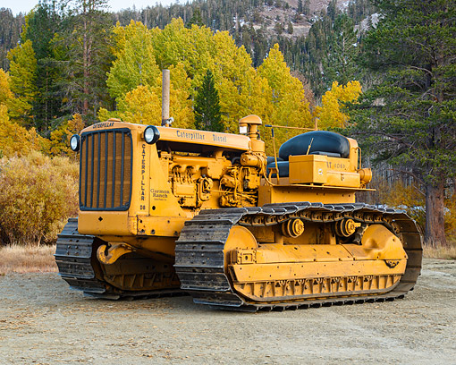 TRA 01 RK0389 01 © Kimball Stock 1952 Caterpillar D6 9U Yellow 3/4 Front View In Forest Meadow