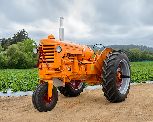 TRA 01 RK0391 01 © Kimball Stock 1952 Minneapolis-Moline UTN LP Tractor Orange 3/4 Front View On Farm