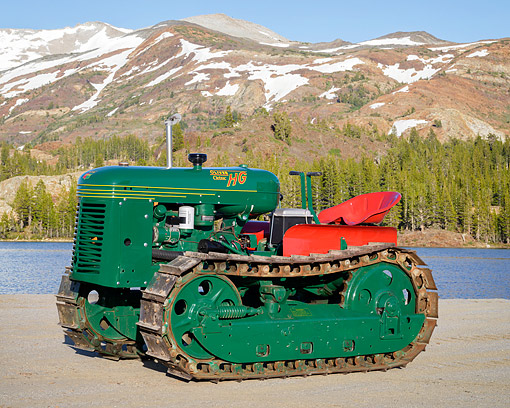 TRA 01 RK0419 01 © Kimball Stock 1947 Cletrac HB-42 Tractor Green 3/4 Front View By Mountain Lake